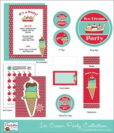 Cute Printable Ice Cream Birthday Party Collection. Printables by Amy Locurto (Red & Turquoise) #party #icecream