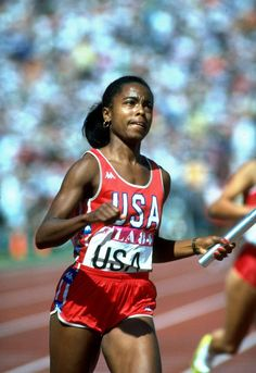 1984 - Evelyn Ashford Track and Field, 4x100m Relay, Los Angeles Summer Olympic Games  Evelyn Ashford in the 4x100m relay, in which her USA team won the gold medal.