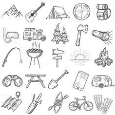 Set of doodle camping icons. by Lazy Clouds on @creativemarket