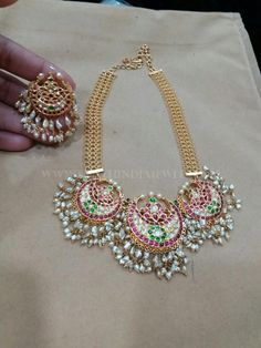 Beautiful+Gold+Necklace+And+Earrings+From+Vajra+Jewellery