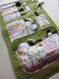 Handmade Spring Green, Pink, Blue, and Orange Beauty Fold Up Case, Travel Case… Sewing Hacks, Sewing Tutorials, Sewing Patterns, Sewing Tips, Fabric Crafts, Sewing Crafts, Sewing Projects, Diy Sac, Handmade Cosmetics