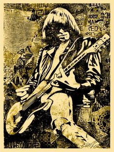 johnny ramone  : works shepard fairey   Born	October 8, 1948  Long Island, New York United States  Died	September 15, 2004 (aged 55)  Los Angeles, California, U.S.
