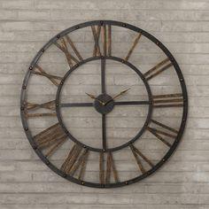 $62 vintage farmhouse feel roman numeral rusting wall clock http://www.wayfair.com/Garfield-Oversized-28-Roman-Numeral-Open-Back-Wall-Clock-TADN1744-TADN1744.html