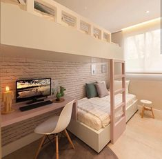 Awesome Quarto Decorado Feminino Moderno that you must know, Youre in good company if you?re looking for Quarto Decorado Feminino Moderno Room Design Bedroom, Girl Bedroom Designs, Room Ideas Bedroom, Home Room Design, Kids Room Design, Bedroom Decor, Dream Rooms, Dream Bedroom, Bunk Bed Rooms