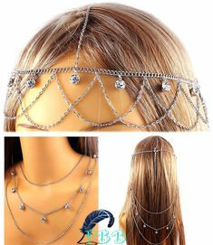 """Silver/rhinestone multi usage head & hair chain  • 18"""" long  • 18"""" long if worn as necklace  • adjustable lobster claw  • multi layered www.FreedomBirdBoutique.StoreNvy.com"""