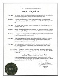 BELLAVUE, WA- Mayoral proclamation recognizing Diaper Need Awareness Week (Sep. 26-Oct. 2, 2016) #DiaperNeed Diaperneed.org