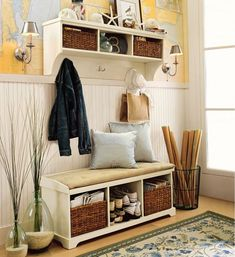Image of attractive entryway bench storage rack between brushed nickel wall sconce with silk empire lamp shades adhere on vinyl wall decal world map over beadboard half wall also entry storage bench ikea large entryway light fixtures upholstered benches for entryway entryway bench ikea hack storage bench