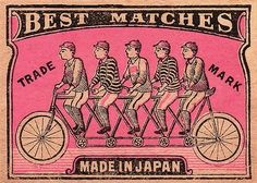 1910 Japanese Tandem Bicycle Matchbox Label,tandem bicycle,quint,japan,japanese,match,matchbook,matchboxlabel,antique,phillumeny,ephemera,vintage collectible,tobacciana,cyclist