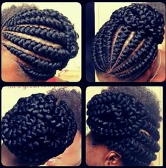 Cute | Hmm Looks like two strand twists with extensions, have to practice this one *CJ...nope I think its actually Ghana cornrows