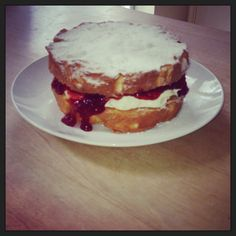 Tea time with a Victoria sponge cake yum