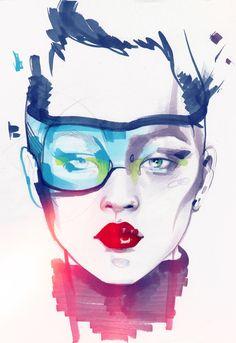 ALINA GRINPAUKA #fashion #illustration.      ....................  Illustrations and sketches board by Judy Rogers
