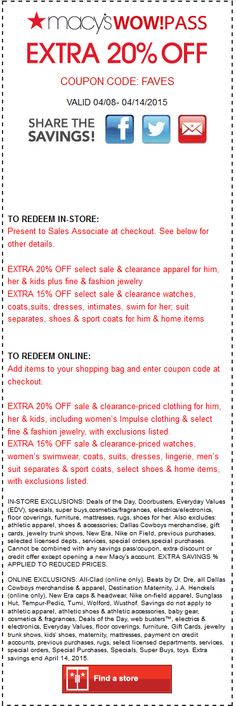 f752cc6492 Macys coupon   Macys promo code from The Coupons App. Extra off sale    clearance apparel at Macys