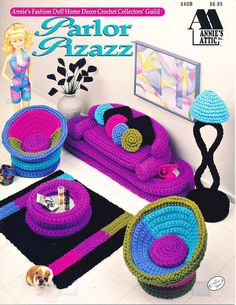 540B Annie's Attic Crochet Parlor Pizazz Furniture for Barbie Dolls LN! #AnniesAttic