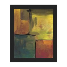 """Click Wall Art 'Canary Echo Chamber' Framed Print of Painting Size: 20"""" H x 16"""" W x 1"""" D, Frame Color: Black"""