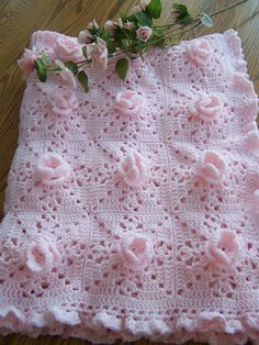 New Crocheted PrettyInPink Roses Baby Afghan by hookinontheside, $65.00
