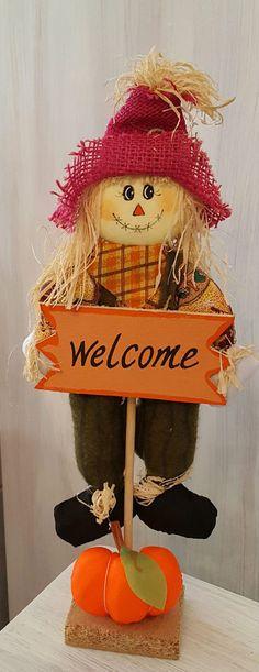 Herbst Strohpuppe / Vogelscheuche / Deko Welcome Figur Puppe Türstopper