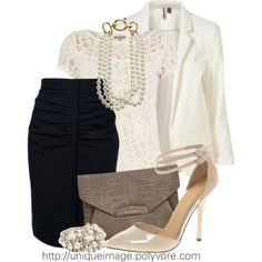 """Love the lacy top and black skirt.  I'd wear the top with jeans too. """"Lace & Pearls"""" by uniqueimage on Polyvore"""