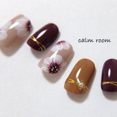 Flower Nails, Short Nails, Manicure, Gemstone Rings, Nail Designs, Nail Art, Stud Earrings, Beauty, Creema