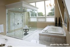 Master bath idea.  Dual showers & jetted tub.