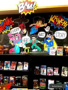 Library display at the Lacey timberland library. Every Hero has a Story! School Library Displays, Middle School Libraries, Elementary School Library, School Library Themes, Elementary Library Decorations, Library Science, Library Activities, Library Lessons, Library Books