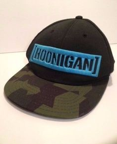 0733fb6fcd52a Hoonigan Censor Bar Logo Snapback Hat Blue Black Camo Adjustable Size Box  Cap  Hoonigan  BaseballCap