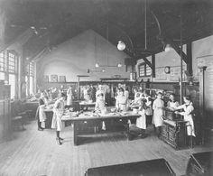 Dennistoun Public School in Glasgow, domestic science 1916
