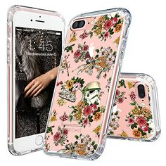 iPhone 7 Case, Cool iPhone 7 Case, MOSNOVO iPhone 7 Floral Skull Flower Clear Design Printed Transparent Slim Plastic Hard Back Cover with TPU Bumper Protective Case for Apple iPhone 7 Inch) Pretty Iphone 7 Cases, Iphone 7 Cover Case, Iphone Cases For Girls, Iphone 6 Plus Case, Iphone Phone Cases, Iphone Accessories, Smartwatch, Smartphone, Phones