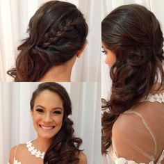 Bride - Hairstyles For All Side Swept Hairstyles, Veil Hairstyles, Wedding Hairstyles With Veil, Homecoming Hairstyles, Fancy Hairstyles, Curled Hairstyles, Half Up Wedding Hair, Hair Comb Wedding, Wedding Hair And Makeup