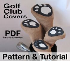 Golf Club Head Covers Sewing Pattern, Classic styling .pdf, DIY