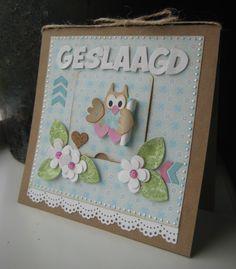 Owl Card, Bird Cards, Marianne Design, Love Cards, Birthday Cards, Card Making, Blog, Frame, Cute