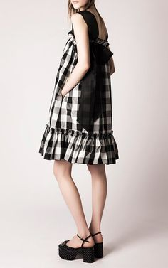 Rochas | Organza Strap Gingham Dress with Ruffled Hem