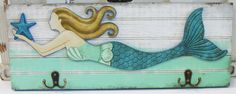 Mermaid Wood Wall Hooks - Blue Tail Mermaid - Nautical Wall Decor - California Seashell Company