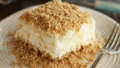 This Pineapple Dream recipe is a light, fluffy dessert of crushed pineapple, cream cheese, and whipped topping, all sandwiched between layers of a delicious graham cracker crust. Potluck Desserts, Icebox Desserts, No Bake Desserts, Easy Desserts, Delicious Desserts, Yummy Food, Hawaii Desserts, Cheesecake Desserts, Pineapple Desserts