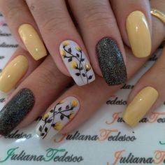 Black Nail Designs, Short Nail Designs, Nail Art Designs, Nails Design, Stylish Nails, Trendy Nails, Cute Nails, Yellow Nails, Pastel Nails