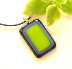 Rectangles Fused Glass Pendant Necklace by GreenhouseGlassworks, $20.00 #jewelry #pendant #fused glass