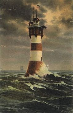 1907 post card of Roter Sand Lighthouse