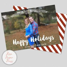 White Winter and Red Stripes Christmas Card   Photo Holiday Card   Personalized Digital Printable File by RosePaperPress on Etsy