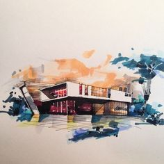 Interesting Find A Career In Architecture Ideas. Admirable Find A Career In Architecture Ideas. Sketchbook Architecture, Art Et Architecture, Watercolor Architecture, Architecture Portfolio, Perspective Sketch, Architect Drawing, Pics Art, Interior Sketch, Planer