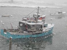 Snowy Day out fishing. Scituate, MA