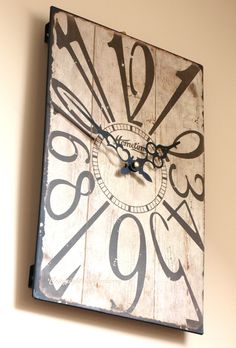 Chic Shabby Distressed Rustic Style Metal Wall Clock - Cream Face Black Numbers