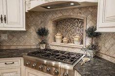 Corner stove with built in tile shelf