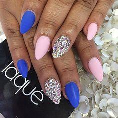 Stiletto Matte Pink & Blue + Rhinestone Accent Nail
