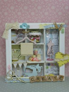 An amazing sewing-themed Shadow Box project.