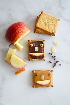 snack: apples, peanut butter, and chocolate.