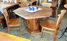 Wooden Dining Table Designs, Wooden Dining Tables, Wood Bed Design, Used Woodworking Tools, Wood Beds, Phone, Furniture, Home Decor, Pallet Dining Tables