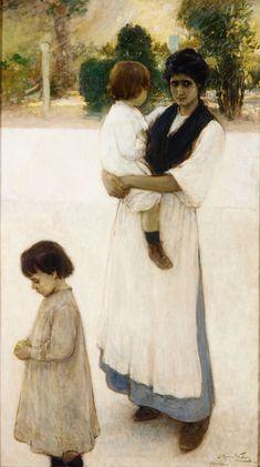Julio Romero de Torres - A la amiga, c. 1900-1905. Óleo sobre lienzo, 168 x 95 cm. Museo de Bellas Artes de Asturias. Colección Pedro Masave...