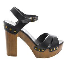 Juliana06V Peep Toe Studded Sling Back Faux Wooden Platform Chunky Heels