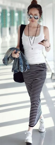 Stylish Stripes Drawstring Waist Maxi Skirt