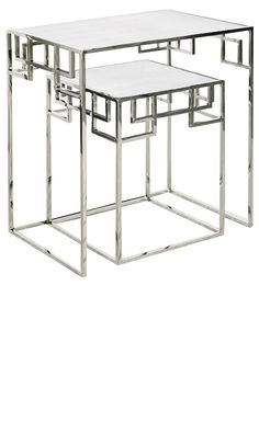 Side Tables, End Tables, Accent Tables, Elegant Iron Polished Nickel Nesting Tables, from InStyle Decor Beverly Hills