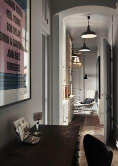 Vintage interior | Dusty Deco for Fabrique | styled by Edin Memic Kjellvertz #hallway #lightgrey #art #woodenfloor #retro #coolapartment